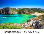 Cala Domestica beach, Sardinia, Italy. Sardinia is the second largest island in mediterranean sea.