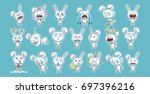 set kit collection sticker... | Shutterstock .eps vector #697396216