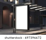 bus stop with a blank banner on ... | Shutterstock . vector #697396672