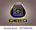shiny badge with bank safe...   Shutterstock .eps vector #697396936