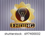 golden badge with idea icon...   Shutterstock .eps vector #697400032