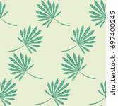 green tropic pattern. seamless... | Shutterstock .eps vector #697400245