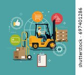 logistics  storage and delivery ... | Shutterstock .eps vector #697401286