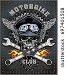 vintage motorcycle label | Shutterstock .eps vector #697401508