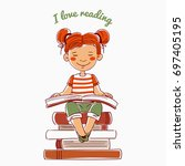 cute  funny girl reads a book... | Shutterstock .eps vector #697405195