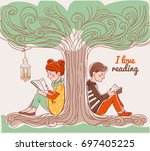 cute boy and girl reading books ... | Shutterstock .eps vector #697405225