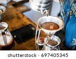 gooseneck kettle pour over... | Shutterstock . vector #697405345