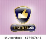 shiny badge with like icon and ...   Shutterstock .eps vector #697407646
