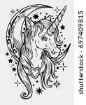 cute unicorn  tattoo  weird ... | Shutterstock .eps vector #697409815