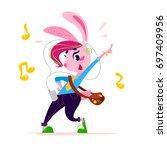 vector flat cute little bunny... | Shutterstock .eps vector #697409956