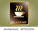 gold badge with coffee cup...   Shutterstock .eps vector #697412242