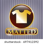 gold badge or emblem with...   Shutterstock .eps vector #697412392