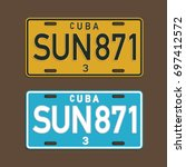 cuba license plate illustration ... | Shutterstock .eps vector #697412572