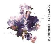 bouquet of spring delicate... | Shutterstock . vector #697412602