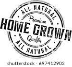 vintage home grown produce stamp | Shutterstock .eps vector #697412902