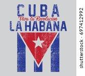 cuba flag typography  tee shirt ... | Shutterstock .eps vector #697412992