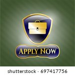 shiny badge with briefcase...   Shutterstock .eps vector #697417756