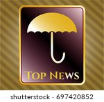 gold badge or emblem with...   Shutterstock .eps vector #697420852