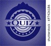 quiz badge with denim texture   Shutterstock .eps vector #697426186