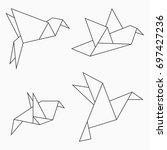 origami bird collection. set of ... | Shutterstock .eps vector #697427236