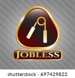 gold badge or emblem with hand ...   Shutterstock .eps vector #697429822