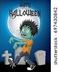 cartoon zombie with halloween...   Shutterstock .eps vector #697430842