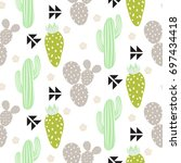 Cactus Plant Vector Seamless...