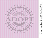 adopt realistic pink emblem | Shutterstock .eps vector #697434592
