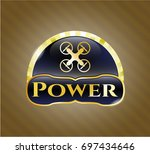 gold badge or emblem with air...   Shutterstock .eps vector #697434646
