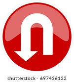 u turn red sign  vector... | Shutterstock .eps vector #697436122