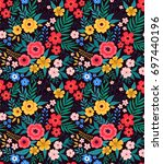 amazing seamless floral pattern ... | Shutterstock .eps vector #697440196