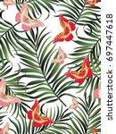 seamless tropical vector... | Shutterstock .eps vector #697447618