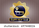 gold badge with bench press...   Shutterstock .eps vector #697448026