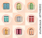 pastel vintage window icons on... | Shutterstock .eps vector #697448302