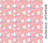 herbal tea seamless pattern.... | Shutterstock .eps vector #697449208