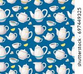 tea seamless pattern. colorful... | Shutterstock .eps vector #697449325