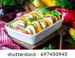Stock photo baked vegetables in bechamel sauce 697450945