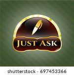shiny badge with pen icon and...   Shutterstock .eps vector #697453366