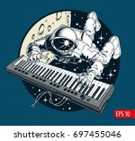 astronaut playing piano... | Shutterstock .eps vector #697455046