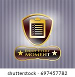 golden badge with list icon...   Shutterstock .eps vector #697457782