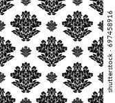 damask seamless pattern... | Shutterstock . vector #697458916