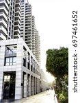 multistory residential white... | Shutterstock . vector #697461652