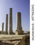 doric white marble columns... | Shutterstock . vector #697462042