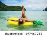 summer lifestyle portrait of...   Shutterstock . vector #697467256