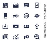 set of 16 trade icons set... | Shutterstock .eps vector #697468192