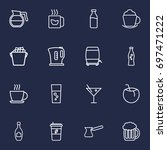 set of 16 drinks outline icons... | Shutterstock .eps vector #697471222