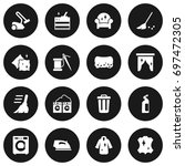set of 16 cleanup icons set... | Shutterstock .eps vector #697472305