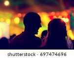blurred youth music festival of ... | Shutterstock . vector #697474696