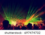 blurred youth music festival of ... | Shutterstock . vector #697474732