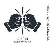conflict concept black... | Shutterstock .eps vector #697477408
